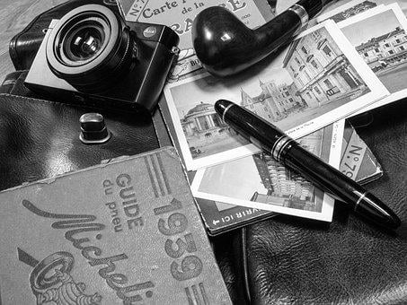 Picture, Map, Office, Vintage, Pen, Pipe, Black White