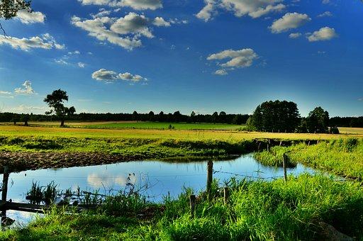 Suchowola, Podlaskie, Poland, Clouds, Landscape, Water