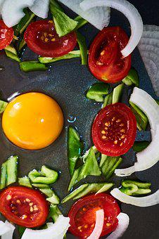 Egg, Vegetable, Tomato, Pepper, Onion, Yellow, Red