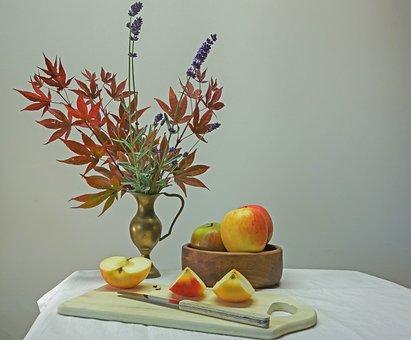 Still Life, Decoration, Apple, Knife, Cut, Fruit