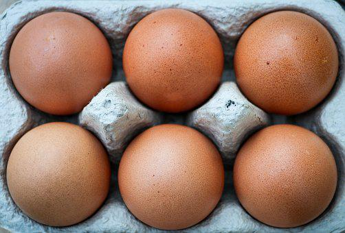 Eggs, Six, Box, Brown, Exposed