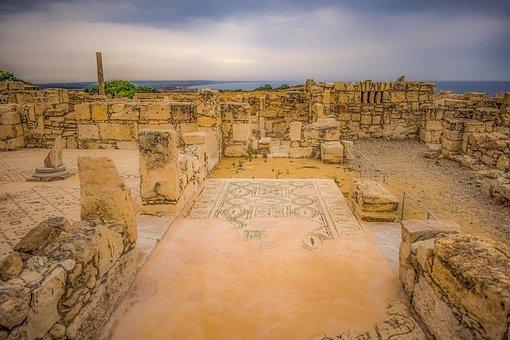 Cyprus, Kourion, Mosaic, Landscape, Sky, Clouds