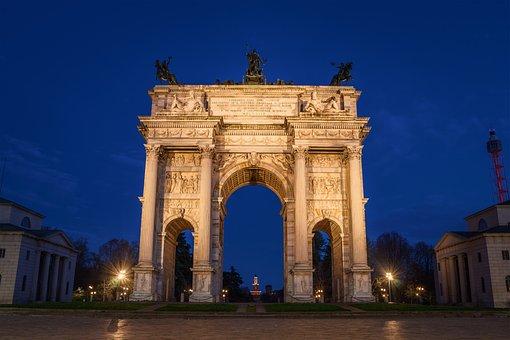 Milan, Porta Sempione, Corso, Italy, Monument, Europe