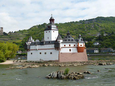 Castle, Pfalzgrafenstein, River, Rhine, Kaub, Customs
