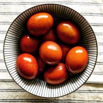 Bowl, Egg, Easter, Painted, Zwiebelschale, Orange