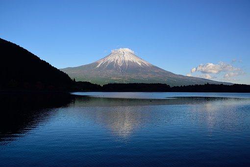 Mountain, Japan, Hills, Shizuoka, Sky, Lake, Fuji