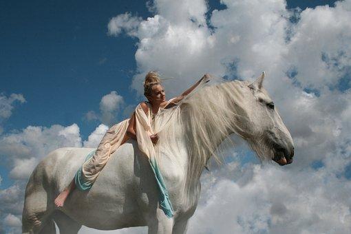 Rider, Girl, Horse, White Horse, Shire, Sky, Heavenly