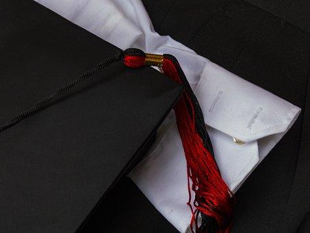Graduation Cap, Graduation Tassel, Black, Red, School