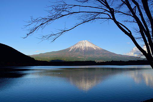 Mountain, Japan, Hills, Shizuoka, Sky, Lake, Fuji, Tree