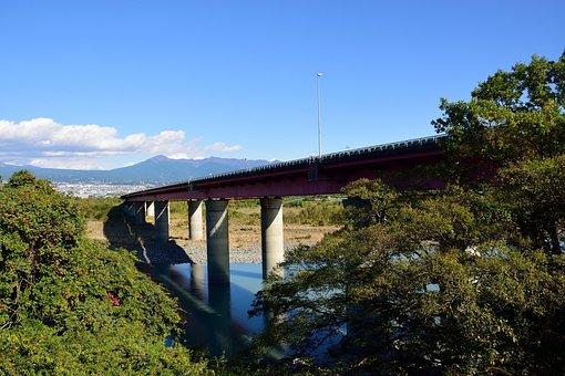 Mountain, Japan, Hills, Shizuoka, Sky, Bridge