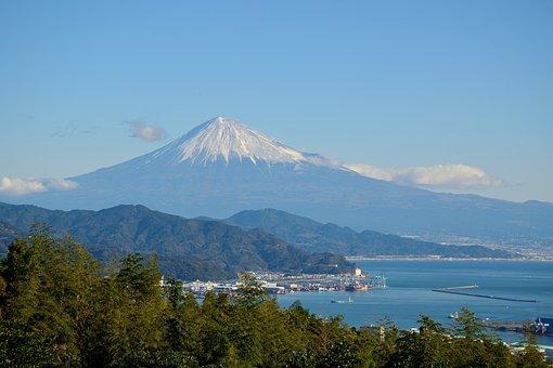 Mountain, Japan, Hills, Fuji, Sea, Shizuoka, Cape, Sky