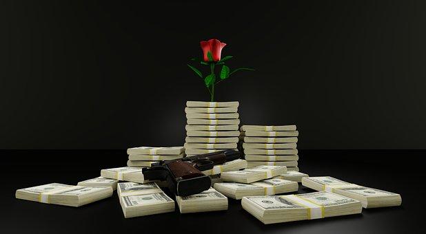 Money, Gun, Rose, Romance, Cash, Dollars, Rebel, Love