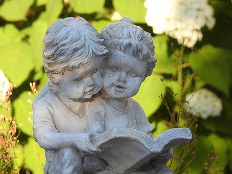 Figurine Plaster, Ornament, Garden, Fountain, Read