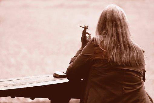 Person, Woman, Smoking, Cigarette, Sitting