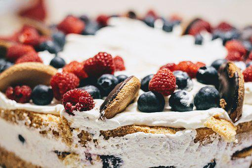 Cake, Birthday Cake, Whipped Cream, Raspberries