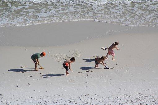 Kids Working, Kids On A Beach, Sand, Beach, Summer