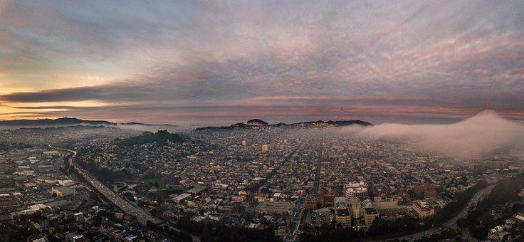San Francisco, Drone, Fog, Nature, Phantom, Sky, Dji