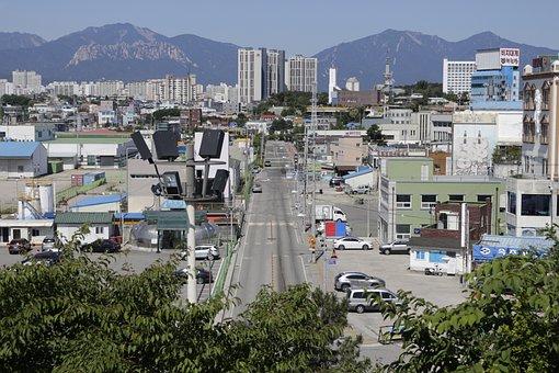 Korea, City, Afternoon, Sokcho, Street, Mountain
