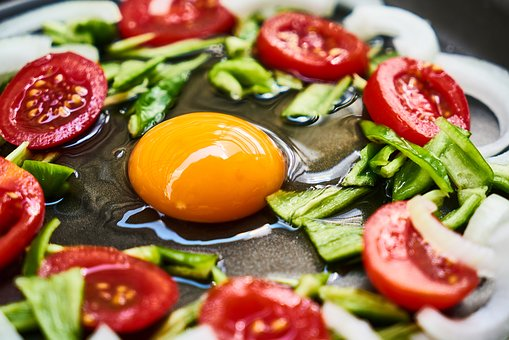Egg, Food, Yellow, Tomato, Onion, Pepper, Omelet, Pan