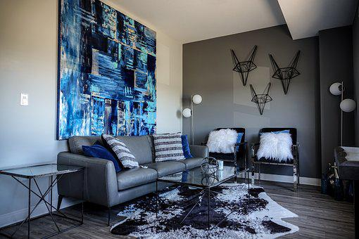 Living Room, Blue, Blue Painting, Painting, Wall Decor
