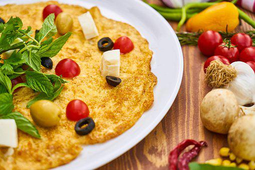 Omelet, Yellow, Egg, Garlic, Vegetables, Healthy, Meat