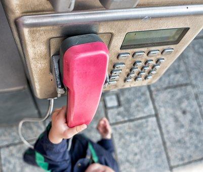 Phone, Hand, Child's Hand, Technology, Call Box, Analog