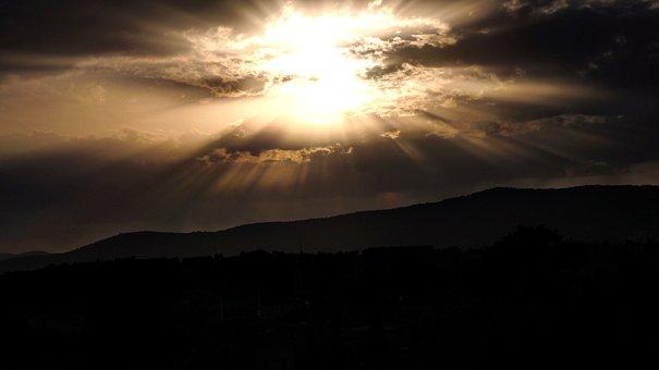 Sunset, Dawn, Mountain, No Person, Evening, Landscape