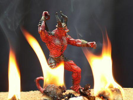 Devil, Fire, Flames, Hell, Figurine, Evil, Horns