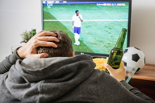 Soccer, Football, Tv, Watching, Home, Boy, Man, Beer