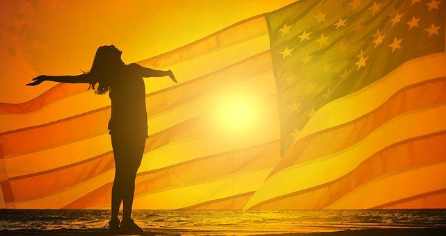 Woman, Joy, Sun, Flag, Usa, Welcome, Happy, Girl, Young