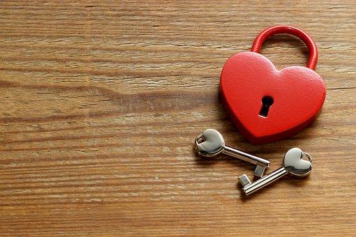 Wood, Castle, Key, Heart, Metal, Love, Heart Shape, Red