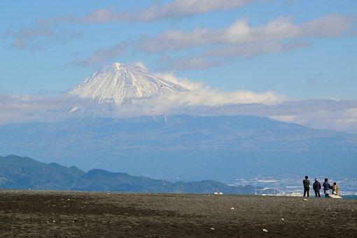 Mountain, Japan, Hills, Fuji, Sea, Shizuoka, Sky