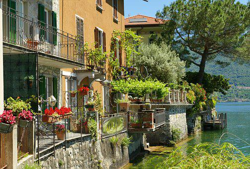 Italy, Lakeside, Holiday, Houses Facades, Old Town
