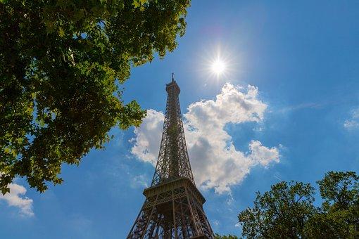 Eiffel Tower, Paris, Architecture, City, Tower, Sun