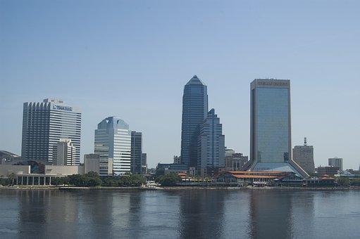 City, Skyline, Architecture, River, Jacksonville