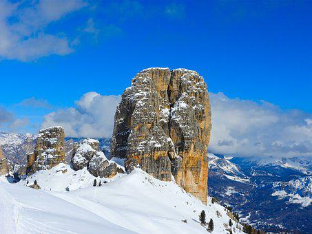 Mountain, Snow, Dolomites, Veneto, Italy, Sky, Blue