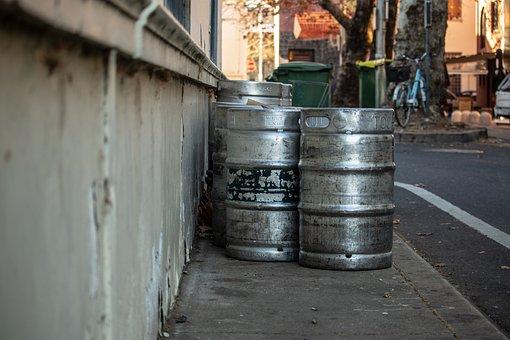 Beer, Keg, Metal, Street, Streetscape, Alley