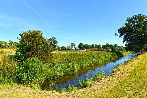 Dutch Landscape, Polder, Waterway, Field, Tree, Farm