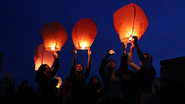 Balloon, Red, Orange, Wish Lanterns, Balloons
