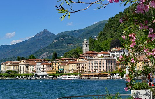 Italy, Lake Como, Bellagio, Old Town, Homes, Bank