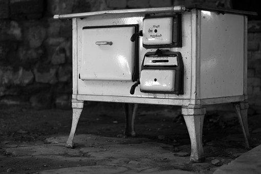Oven, Stove, Nostalgia, Black And White