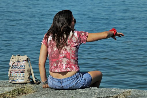 She, Girl, Emotions, Sitting, Woman, Lake, Bodensee