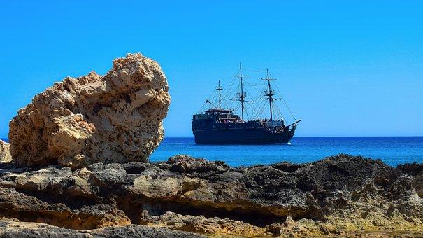 Cyprus, Ayia Napa, Rocky Coast, Cruise Ship