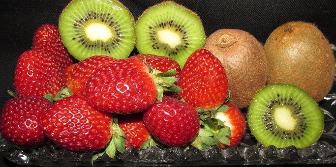 Fruit, Strawberries, Kiwi Fruit, Food, Delicious, Ripe