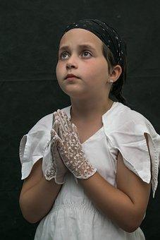 Eyes, Prayer, Faith, Girl, In White