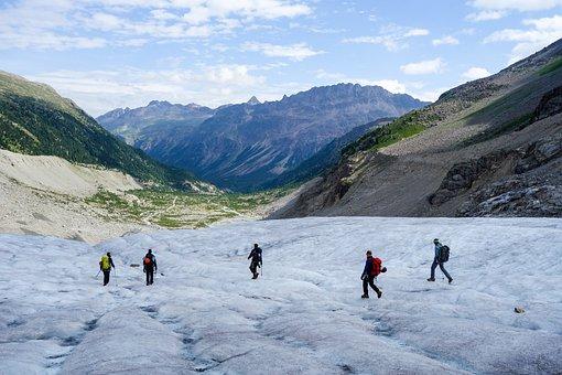 Mountain, Switzerland, Alpine, Alps, Glacier, Climbers