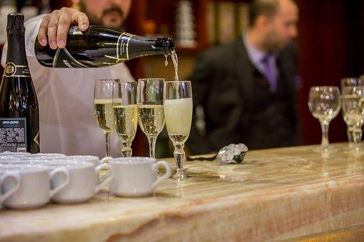 Wine, Champagne, Alcohol, Glasses, Bar, Bartender