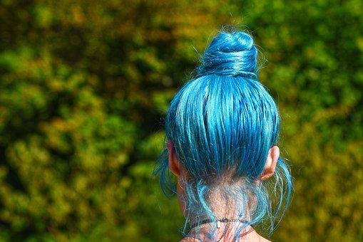 Blue Hair, Hair, Head, Woman, Hairstyle, Colored Hair