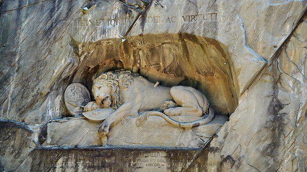 Lion Monument, Lucerne, Lion, Monument, Dying, Lying