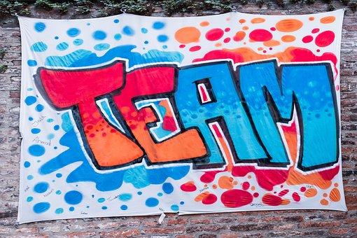 Graffiti, Team, Wall, Brick, Red, Blue, Manager
